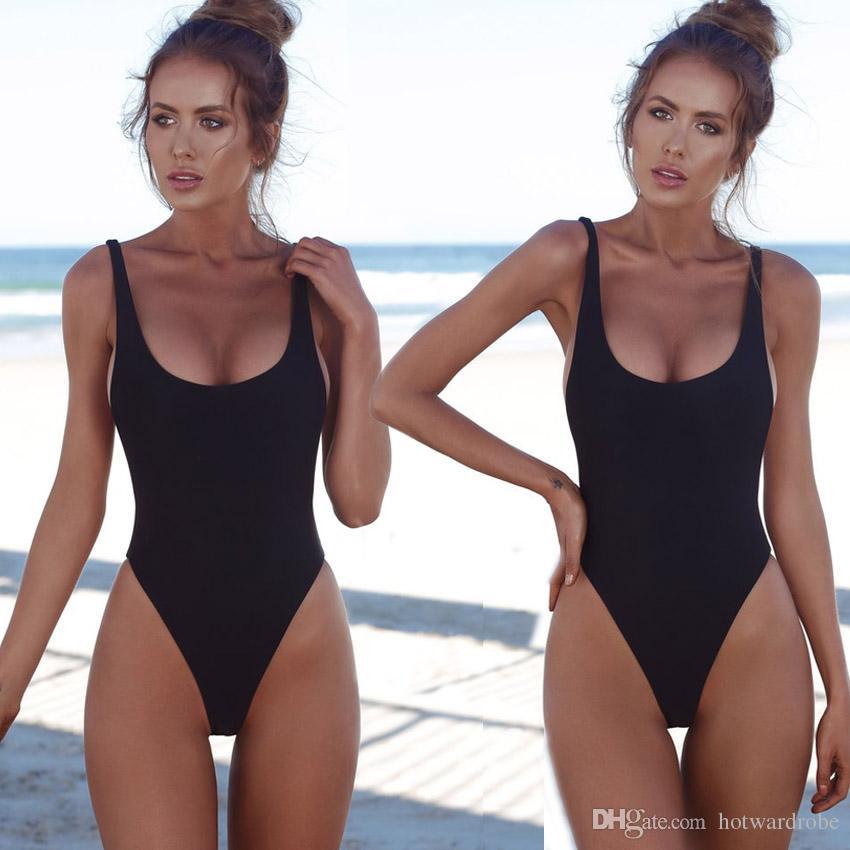 c7b6c814457 Cheap Thong Black 2018 Sexy One Piece Swimsuit Solid Female Women Fused Swimwear  Backless White Brazilian May Bather Monokini XL