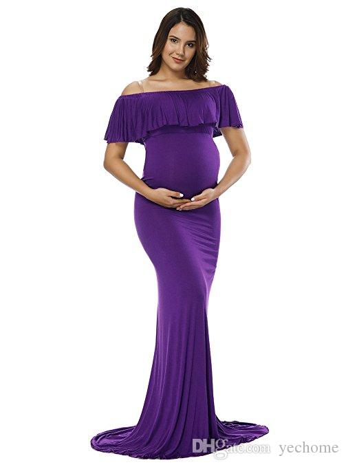 28781a361d5 Purple Elegant Maternity Off Shoulder Chiffon Gown Split Front Strapless  Maxi Pregnancy Photography Dresses for Photoshoot