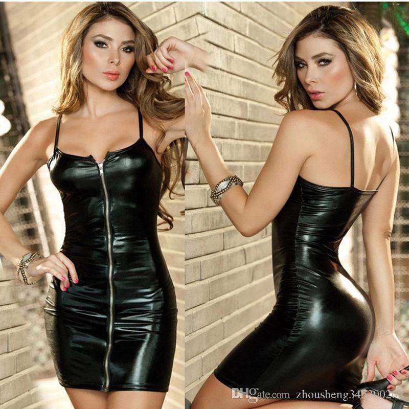 / ملابس جلدية الكبار فساتين مثير ازياء للنساء زيبر اللباس تأثيري ازياء مثير تنورة جلدية داخلية المثيرة