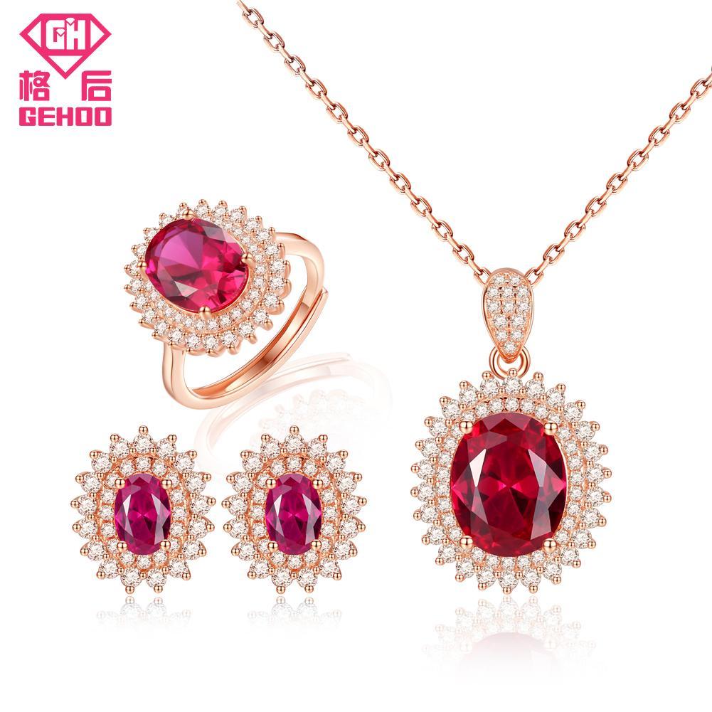09d7c8c260 2019 GEHOO Pretty Ruby Gemstone Fine Jewelry Set 925 Sterling Silver Zircon  Women Ring Earrings Pendant Necklace For Wedding Bridal From Luney, ...
