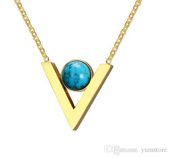 New Women Pendant Necklace Gold Plated With Hemitite Stone Setting Pendants With Chains Letter V Pendant Necklace For Girls Party