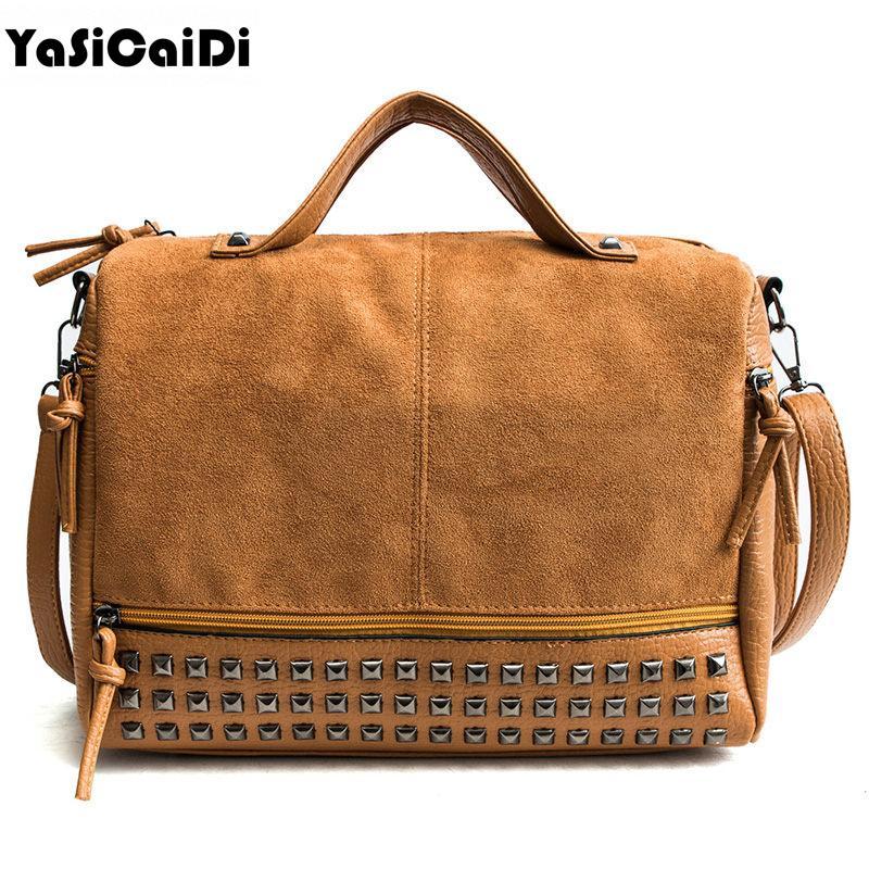 Fashion PU Leather Crossbody Bags for Women Vintage Leather Bags Handbags  Retro Rivet Tote For Women Large Messenger Shoulder Bags Cheap Shoulder Bags  ... 41654e1c01662