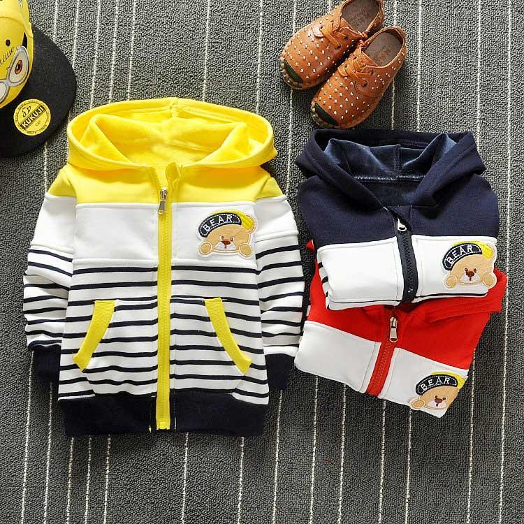 2c3189495 Spring Boys Cartoon Bear Stripped Hooded Cap Jackets Cardigan Baby ...