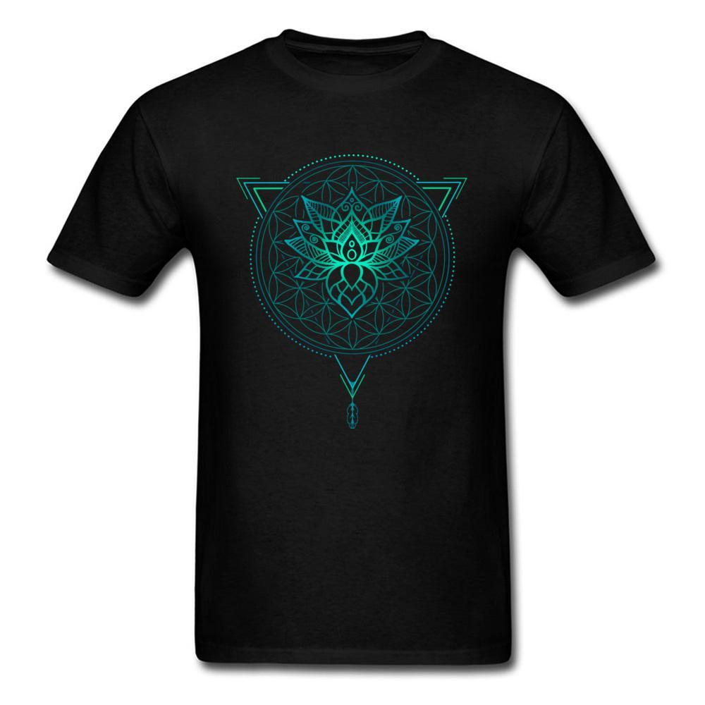 c656090ec Tshirt Man Lotus Flower Of Life Mandala In Geometric Triangle T Shirt Mens  T Shirt Hinduism Buddhism Tops Tees Cotton Clothing Dirty T Shirts Graphic  Tee ...