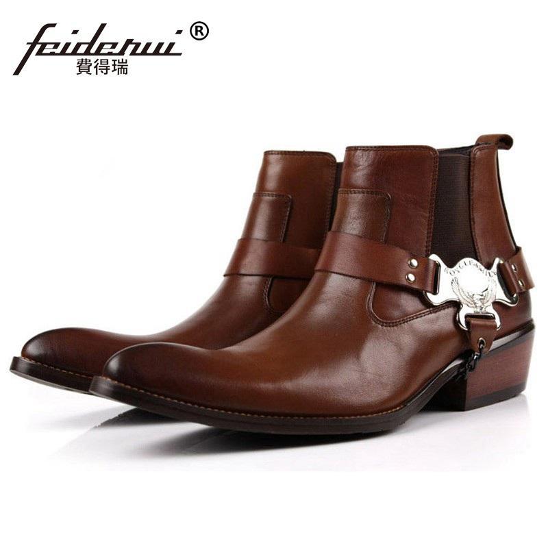 fd490693 Compre Hombre De La Pista De Lujo Zapatos Hechos A Mano De La Marca Punk  Hombre Diseñador De Los Hombres De La Vaquera De Cuero Genuino Del Dedo Del  Pie ...