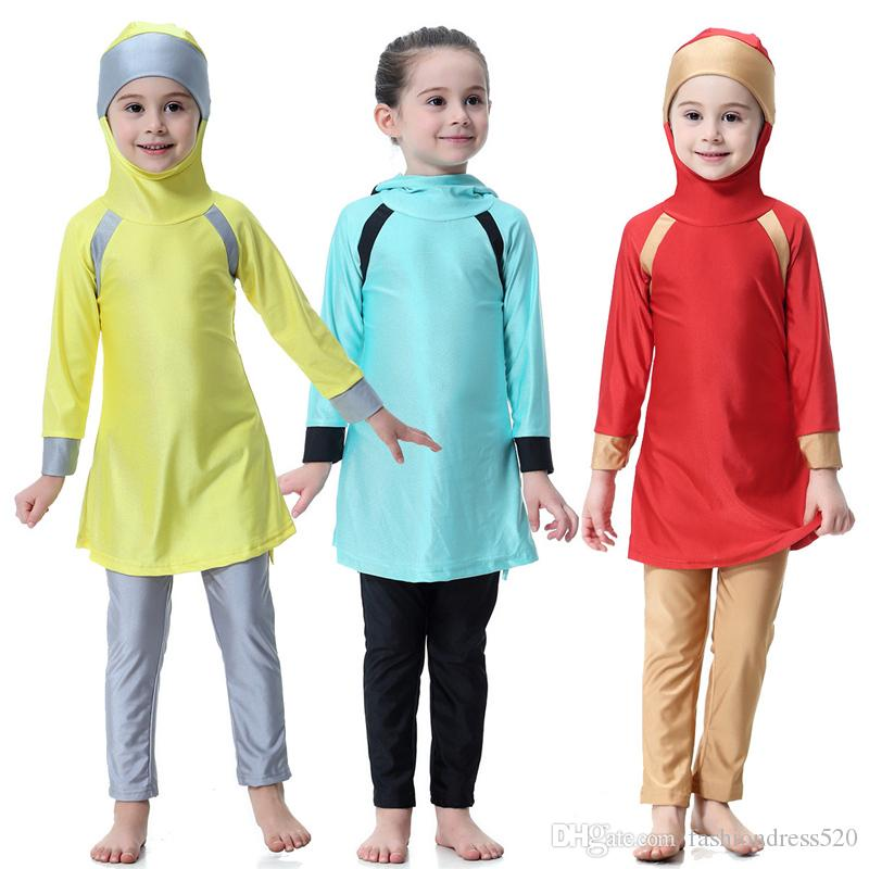 89a566878c98b 2019 2018 Baby Grils Modest Islamic Swimwear Little Girls Full Covered  Hijab Muslim Swimsuit Burkinis 80cm 160cm From Fashiondress520