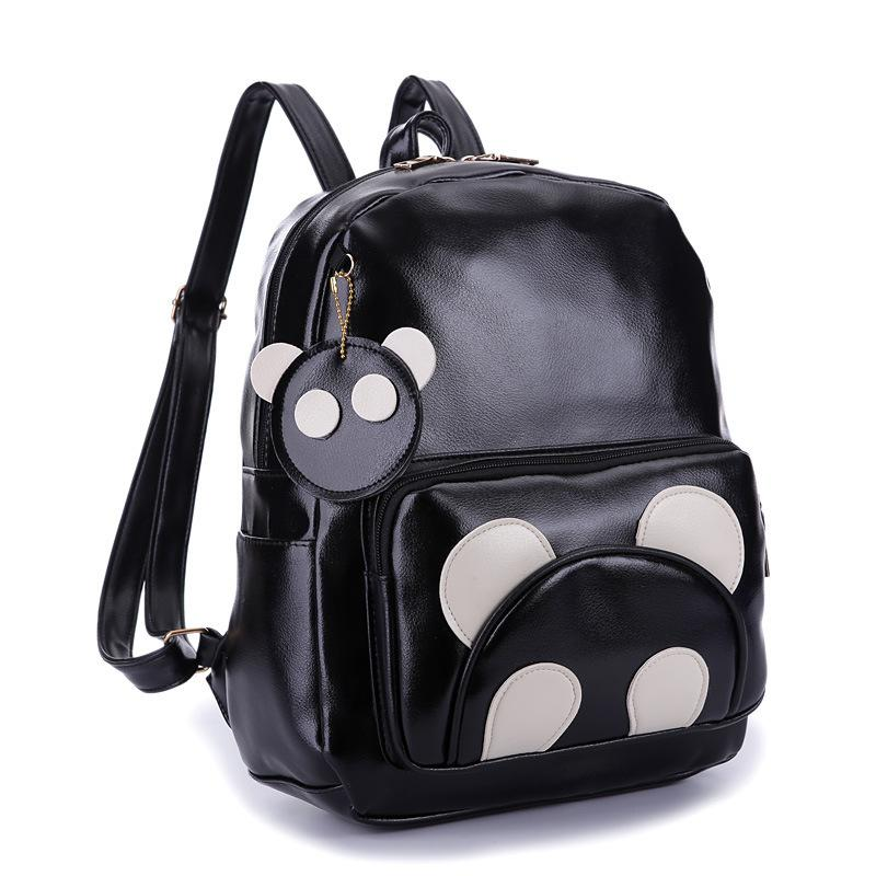 PACGOTH New Trendy Kawaii PU Leather Backpack Animal Prints Cute Panda  Students Backpacks Korean Preppy Style Shoulder Bags Backpacking Packs Pink  Backpack ... 30bf323160956