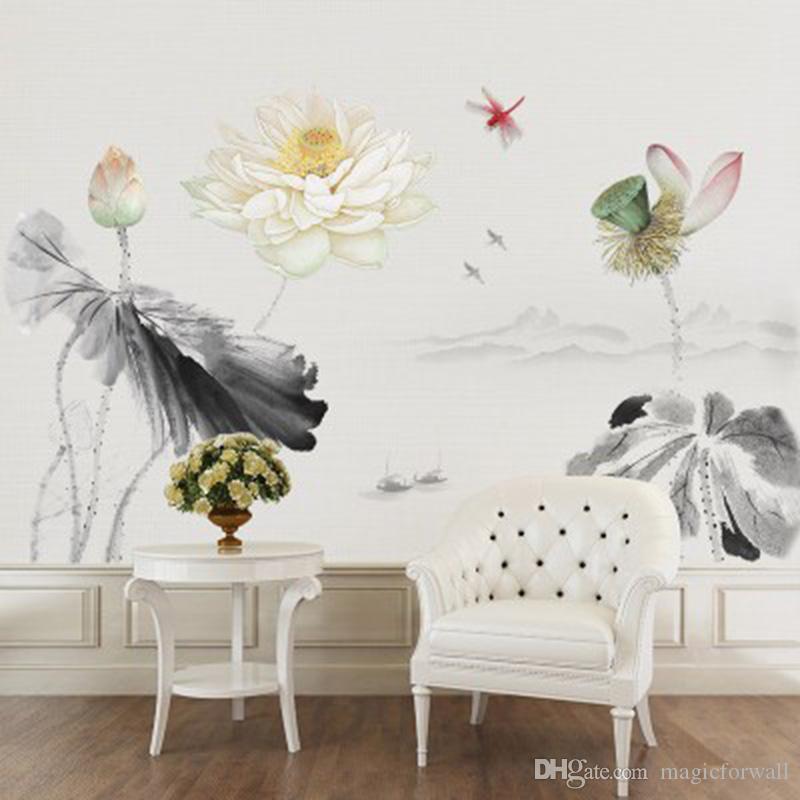 중국어 스타일 로터스 잠자리 파 산맥 보트 벽 스티커 거실 소파 TV 배경 장식 벽화 벽화 포스터 미술 바탕 화면 문신