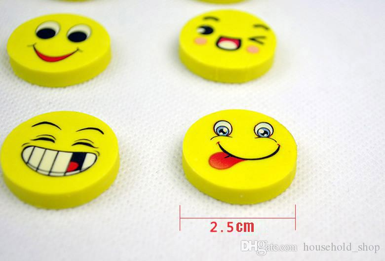 2018 New Fashion Cute Smile Emoji Eraser Primary School Students Learning Prizes Wholesale Cartoon Rubber Erasers