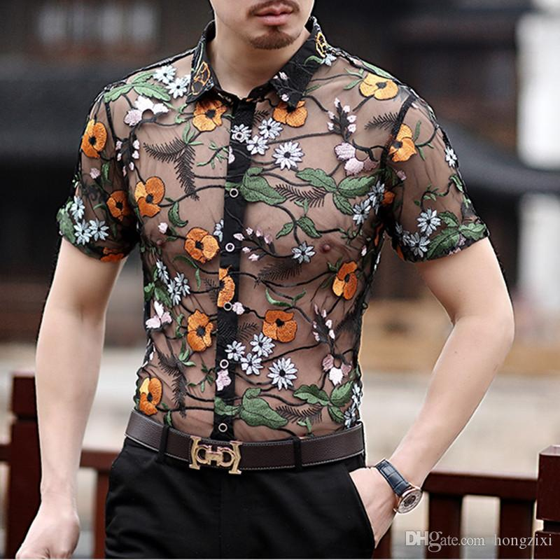 Mens Transparent Shirt Summer Short Sleeve Button Slim Fit Shirts Floral  Flower Dashiki Casual Designer Clothing Camisa Manga Corta Hombre UK 2019  From ... 74568aa97dd