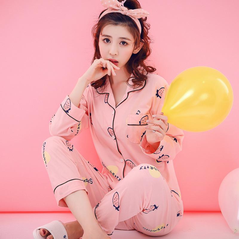 71cfcce2c 2019 Womens Pajamas Sets Cotton Cardigan Long Sleeve And Pants Cute Fruit  Print Pajama Set Sleepwear Women Sexy Autumn Homewear From Zijinflo, ...