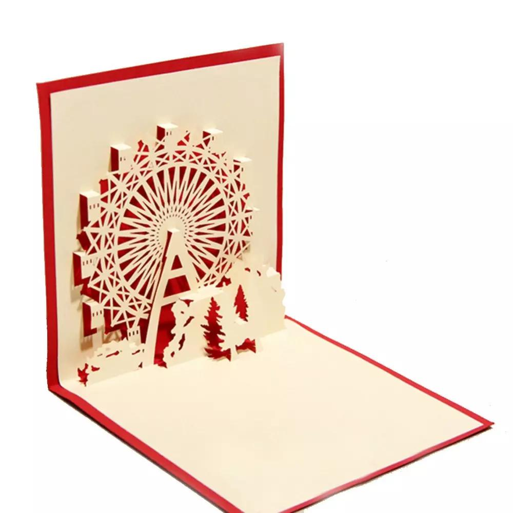 Handmade Chinese Kirigami Origami 3d Pop Up Greeting Cards With