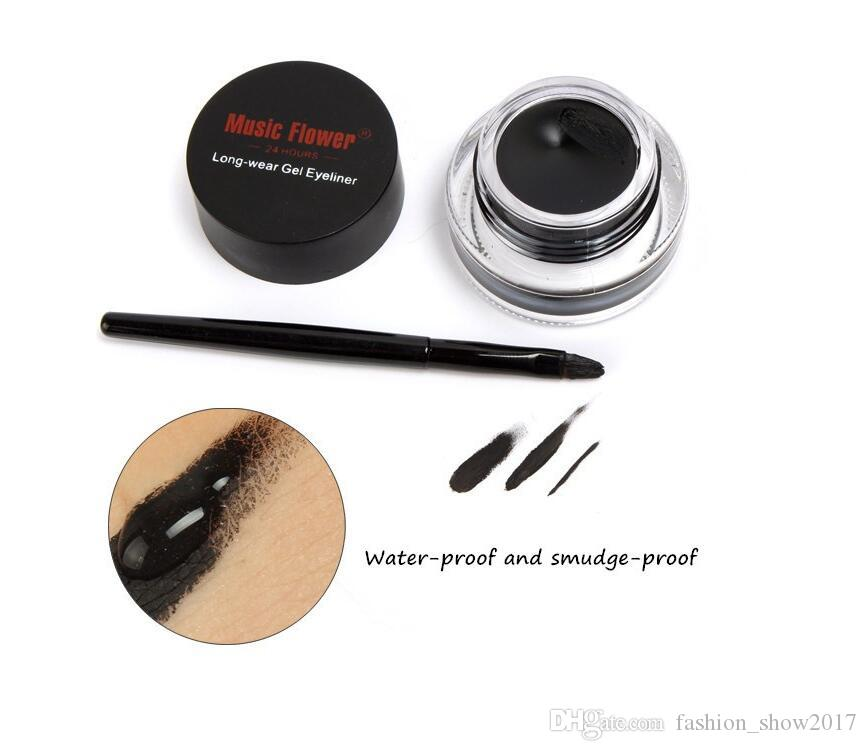Music Flower 2 in 1 Brown + Black Gel Eyeliner Make Up Waterproof and Smudge-proof Cosmetics Set Eye Liner Kit