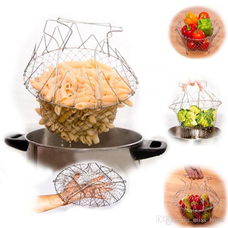 Chef Basket, Stainless Steel Foldable Steam Rinse Strain Fry Basket Strainer Colanders Net Kitchen Cooking Tool for Fried Food or Fruits