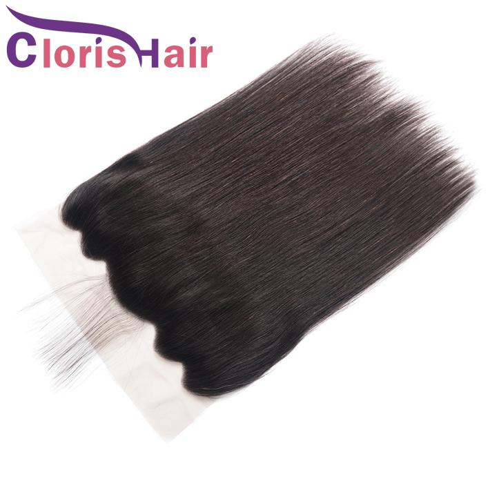 Silk Straight Peruvian Virgin Lace Frontal Closure 13x6 Unprocessed Human Hair Full Lace Frontals Piece Ear To Ear Straight Top Closures