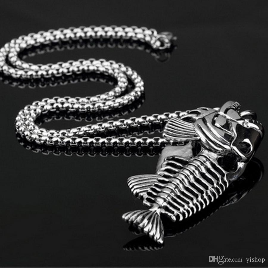 Hot Vintage Fish Bone Pendant Necklace Alloy Steel fishing Hook Necklaces Jewelry Chain For Mens Women Fashion Hip Hop Accessories