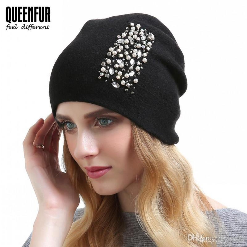841a87bd Women Autumn Winter Hat Solid Color Warm Fashion Artificial Pearls  Rhinestone Cotton Double Knitted Hats For Lady QUEENFUR 37ts Hh Winter Hats  Beanie Hats ...