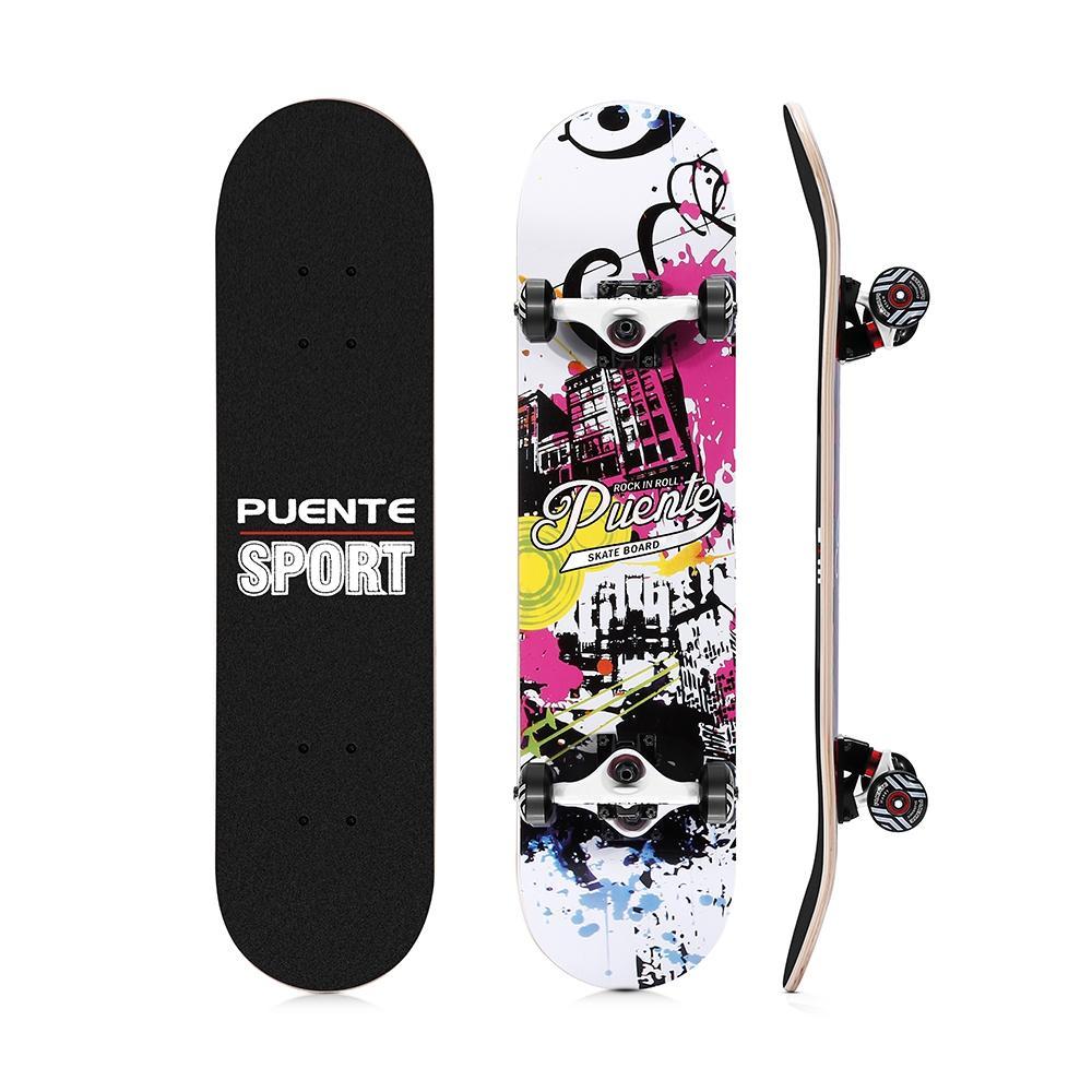 PUENTE 602 ABEC - 9 Four-wheel Double Snubby Maple Skateboard for  Entertainment