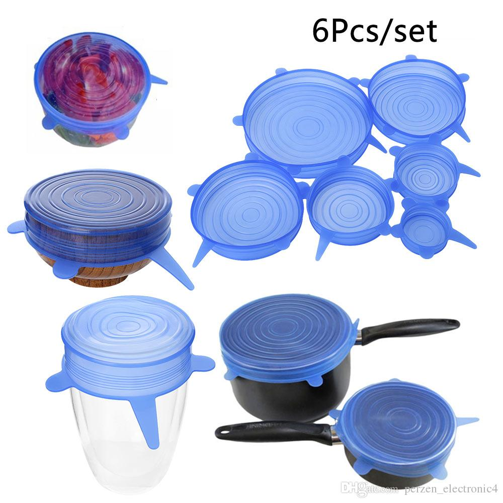 6pcs/set Silicone Stretch Lids Reusable Suction Lid-bowl Universal Pan Plate Pot Food Fresh Storage Cover Sealer Kitchen Stopper