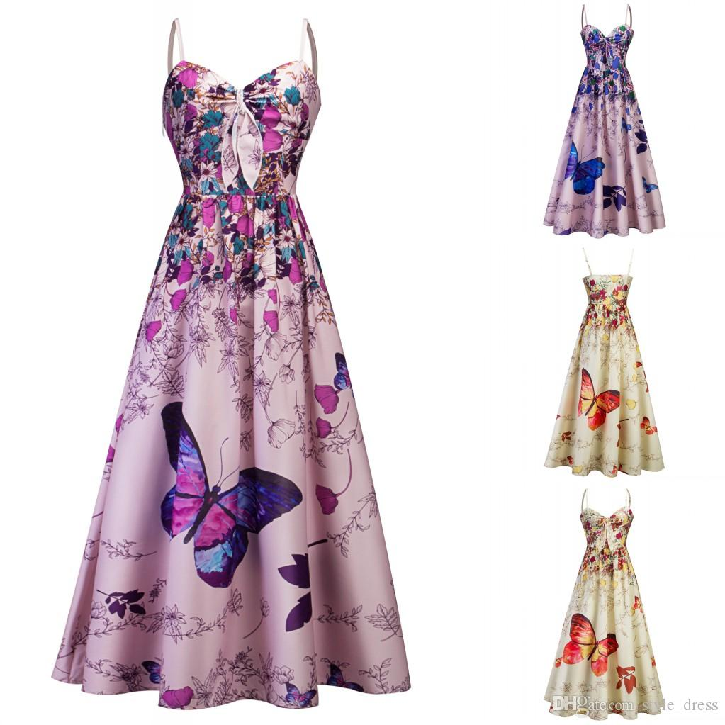 f2be8a5ef4d Women Butterfly Floral Printed Long Dress Spaghetti Strap Summer Beach Tea  Length Boho A Line Sundress Dresses For Parties Elegant Cocktail Dresses  From ...