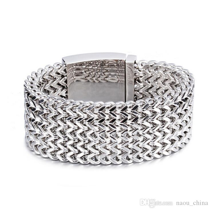 30mm Heavy Punk Biker Bracelet Men Jewelry Jewellery Gift Mens Bracelets & Bangles Gold Silver Stainless Steel Multilayer Mesh Wristband