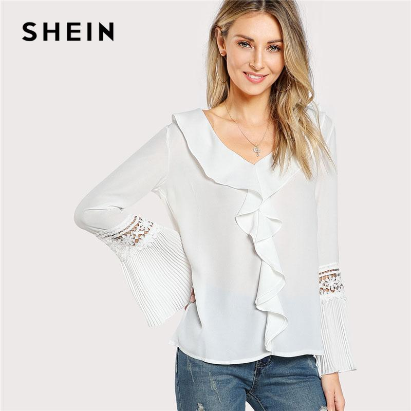 f798012a1b8 2019 SHEIN Ruffles Eyelet Lace Pleated Sleeve Top Women White V Neck Flare  Sleeve Plain Blouse 2018 Spring Long Casual Blouse From Dayup