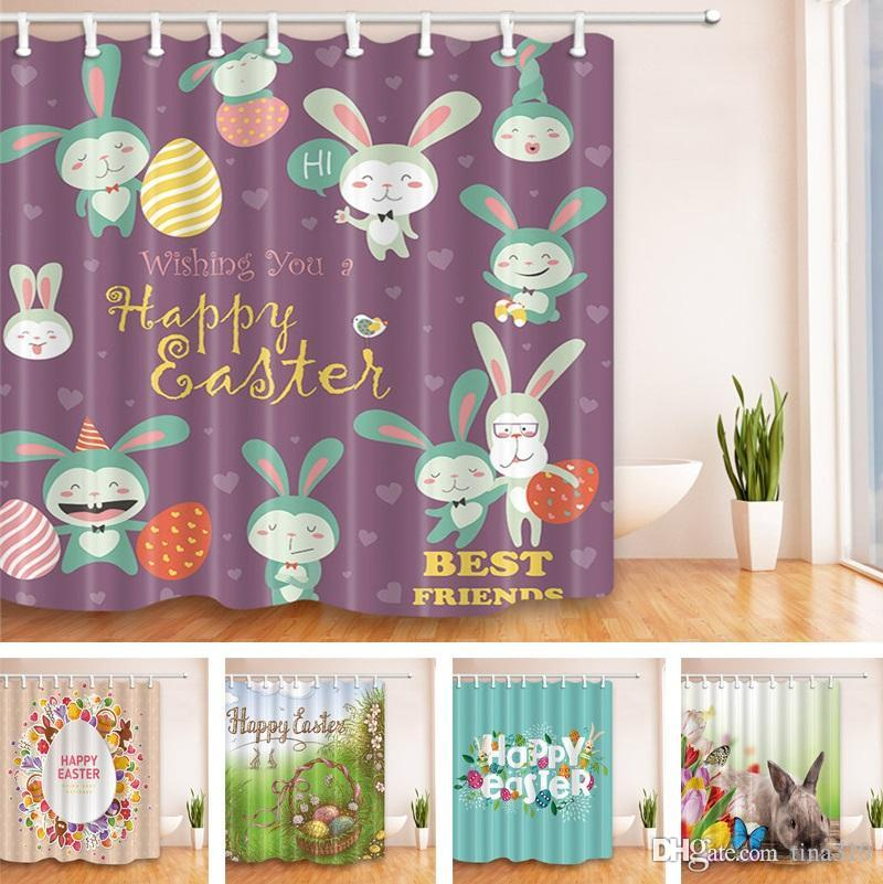 5 Styles 180180cm Easter Style Shower Curtain Polyester Waterproof Bath Cartoon Bunny Home Decor Curtains T2I075