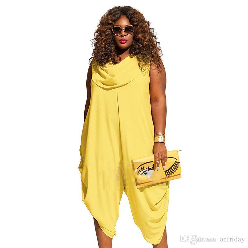 135f5f2f9a1 2019 Yellow Red White Sexy Plus Size 4XL 5XL Jumpsuits And Rompers For Women  2018 Summer Bodysuit Loose Sleeveless Playsuit Overalls From Onfriday