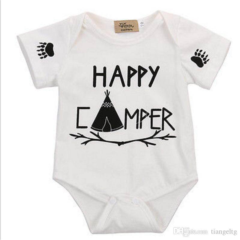 f4b8736b84f 2019 Baby Romper Letters Printed Bronzing Summer Pure Cotton Jumpsuit Girls  Boys HAPPY CAMPER Short Sleeve Top Tee 0 18M From Tiangeltg