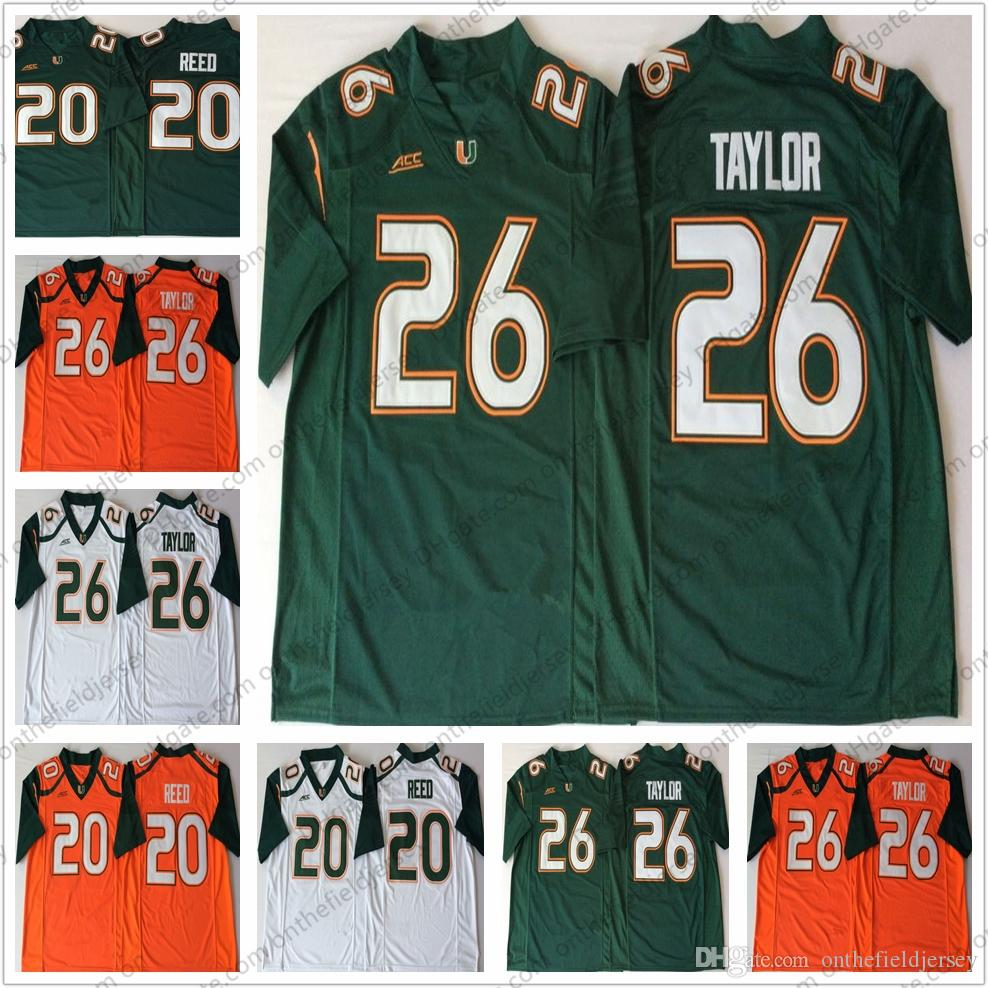 official photos f75bc 096b7 NCAA Miami Hurricanes Vintage Retried College Football Jersey Retro #26  Sean Taylor 20 Ed Reed green white orange embroidered stitched S-3XL