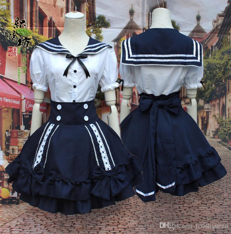 Chic Yüksek Bel Kız Öğrenci Cosplay Kostüm Tek Parça Donanma Sailor Okulu Kız Üniforma Elbise Cadılar Bayramı Partisi Için