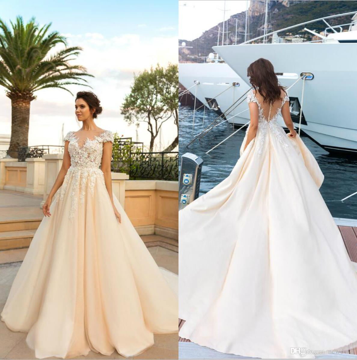Plus Size Wedding Dresses Bridal Gowns Crystal Design Lace Sheer Jewel Neck  Champagne Vestidos De Novia With Capped Sleeves