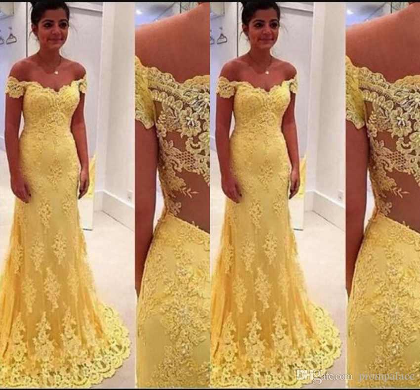 f7bab0d896 Newest Yellow Off Shoulder Prom Dresses Full Lace Appliques Short Sleeves  Sweep Train Elegant Mermaid Evening Gowns Long Elegant Dresses Long Prom  Dresses ...