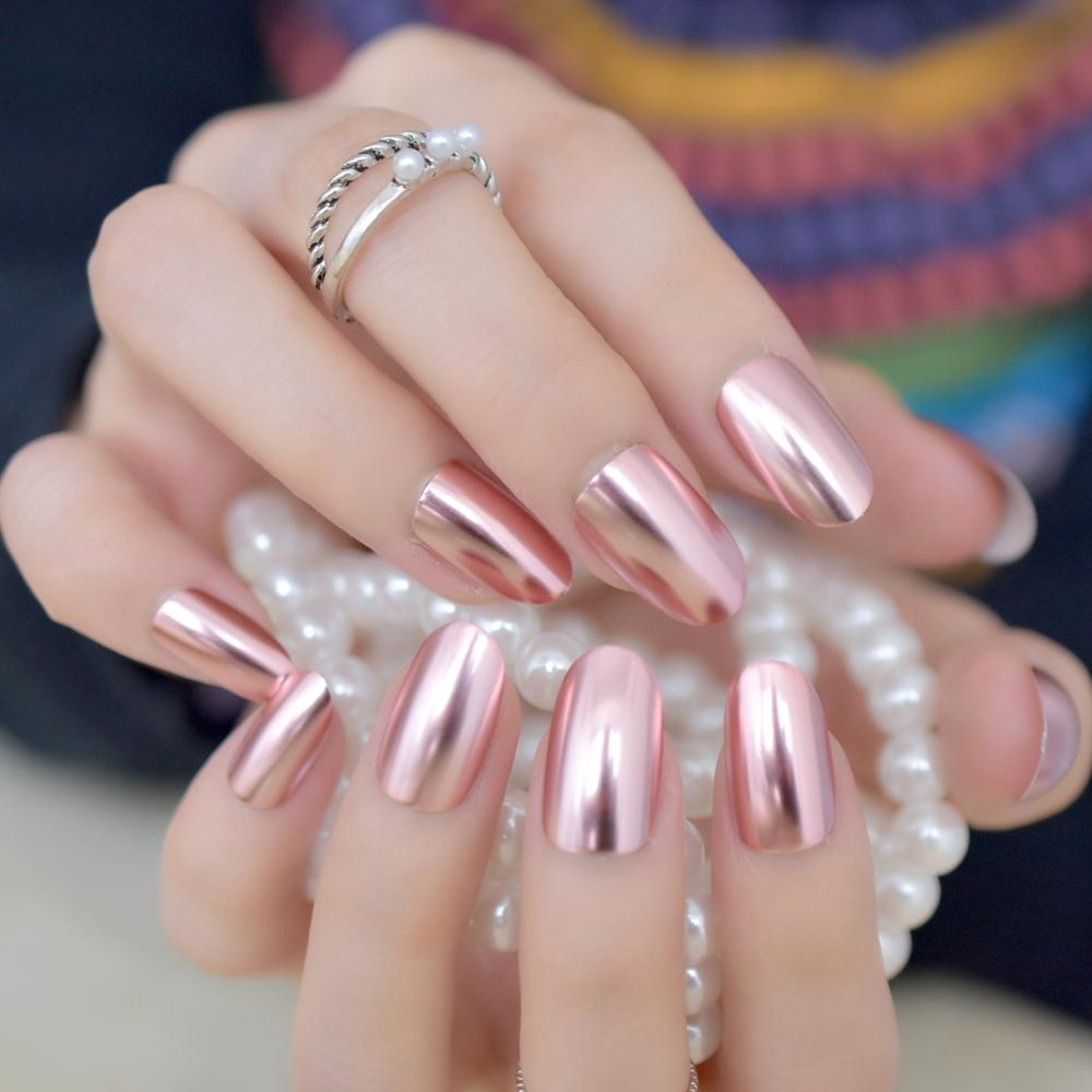 Matte Metal Nail Art Tips Light Pink Metallic Mirror Pre Designed Fake Nails  Fairy Oval Beautiful Shiny Ladies Nails Y18101003 Artificial Nails Design  Nails ... - Matte Metal Nail Art Tips Light Pink Metallic Mirror Pre Designed