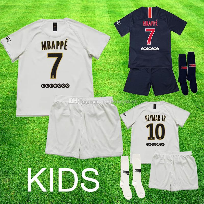 f7e41bb8d Maillot 2018 2019 MBAPPE PSG Home Kids Kit Soccer Jersey DANI ALVES ...