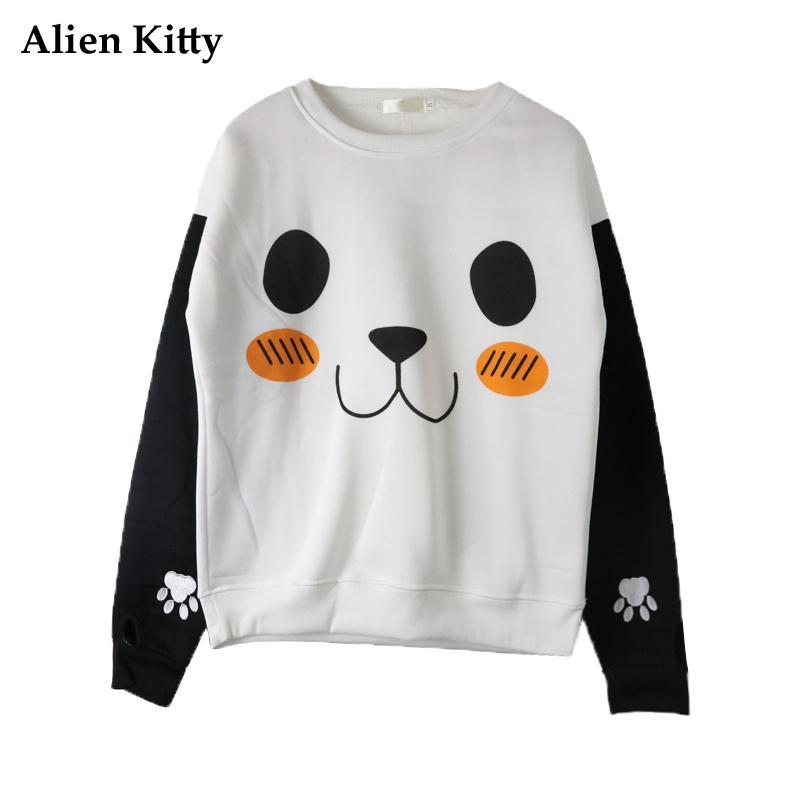 d792ff8eec4146 Acquista Alien Kitty Harajuku Cartoon Panda Felpa Donna 2018 Autunno  Inverno Kawaii Manica Lunga Felpa Con Cappuccio Felpe Con Cappuccio Donna  Top A $34.42 ...