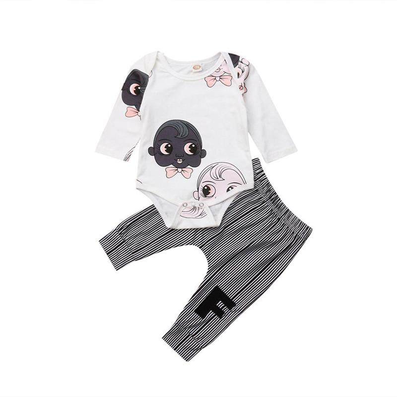 593f58bbc0 2019 Emmababy Autumn Newborn Baby Boy Clothes Set Cartoon Girls Jumpsuit  Bodysuit Striped Pants Cotton Casual Clothing Outfit Sets From Entent, ...