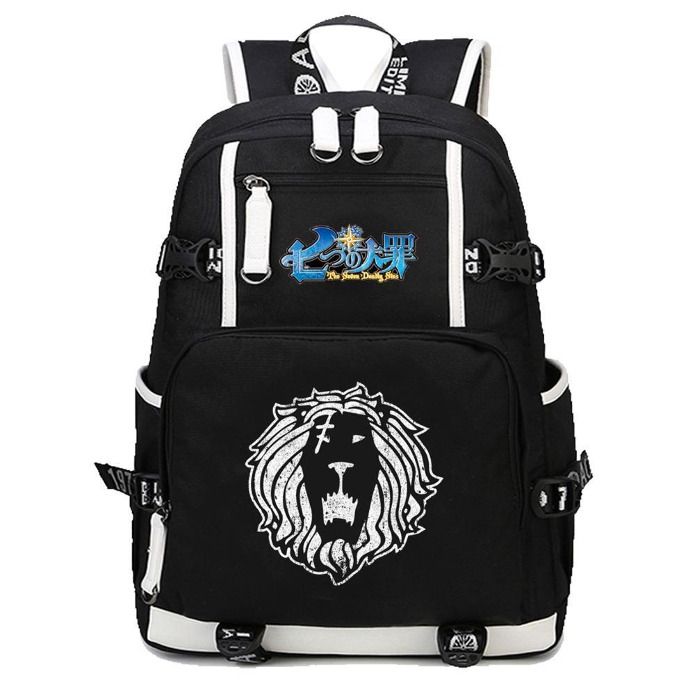 84ca903b5 Anime The Seven Deadly Sins Backpack School Bags Bookbag Satchel Work Bag  Women Men Laptop Travel Shoulder Bags Swiss Army Backpack Black Leather  Backpack ...