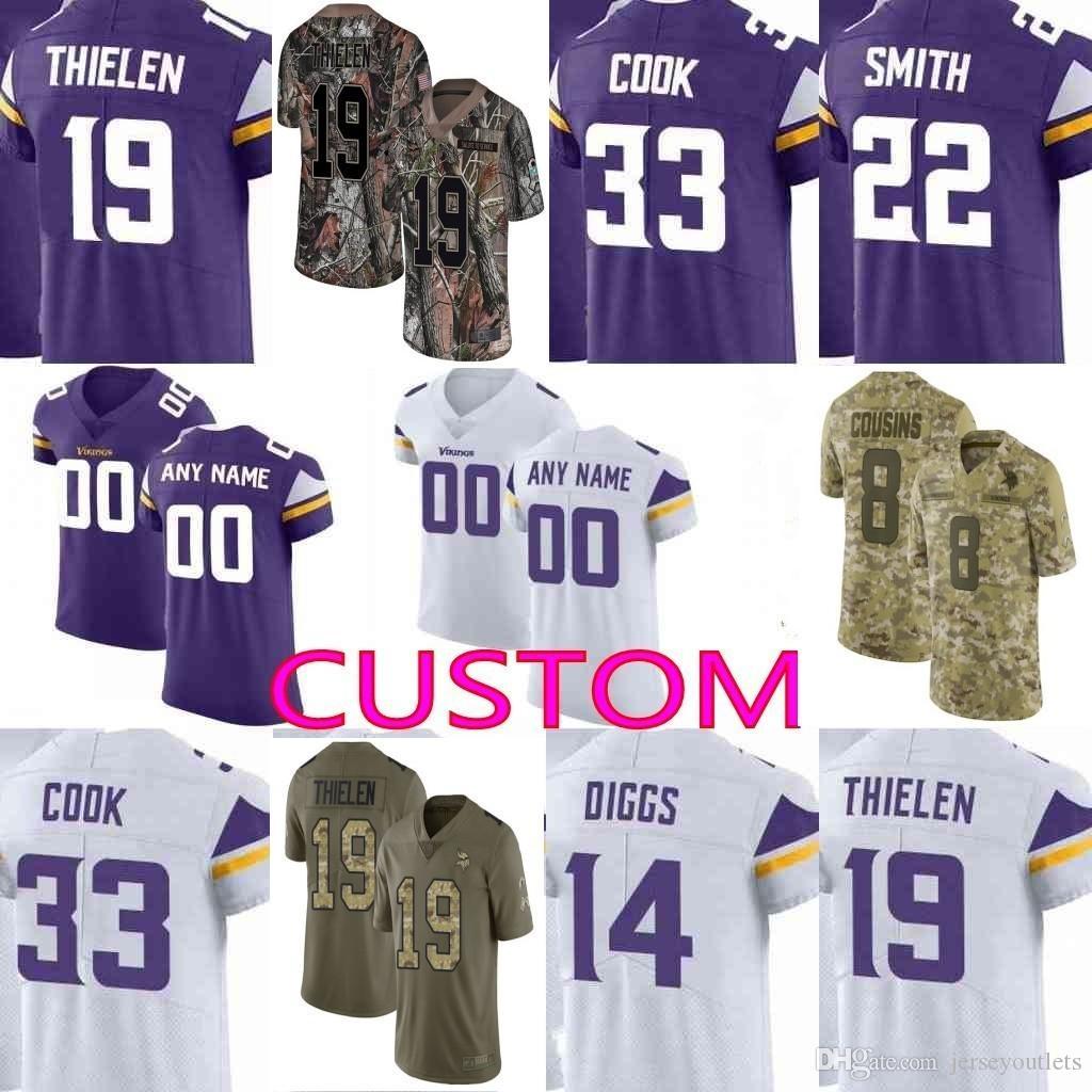 ee1b2a46 custom Men youth women Minnesota Kirk Cousins Stefon Diggs Adam Thielen  Harrison Smith Camo Salute Service Vikings Elite Limited Jersey