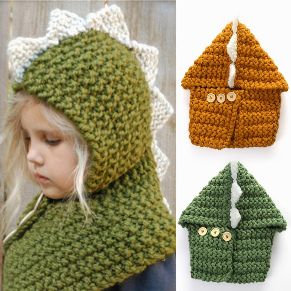 cfcc6467c84 Baby Girls Boys Dinosaur Knitted Caps Scarf 2 in 1 Cartoon Wool Cap ...