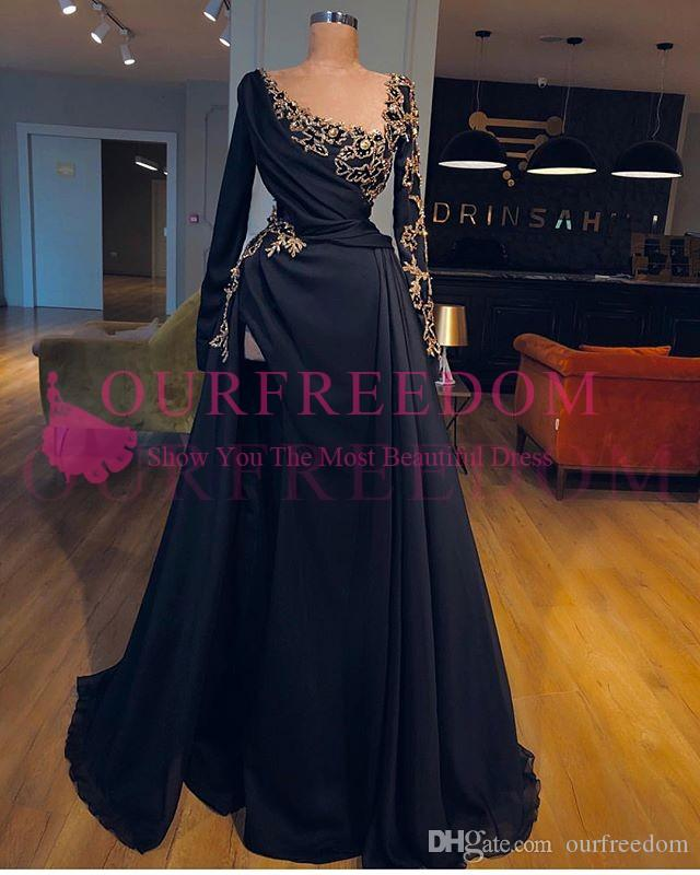 2019 Custo Made Aso Ebi Style Prom Dresses Long Sleeve Gold Applqiues Sexy Side Split Navy Blue Formal Evening Occasion Dresses Hot Sale