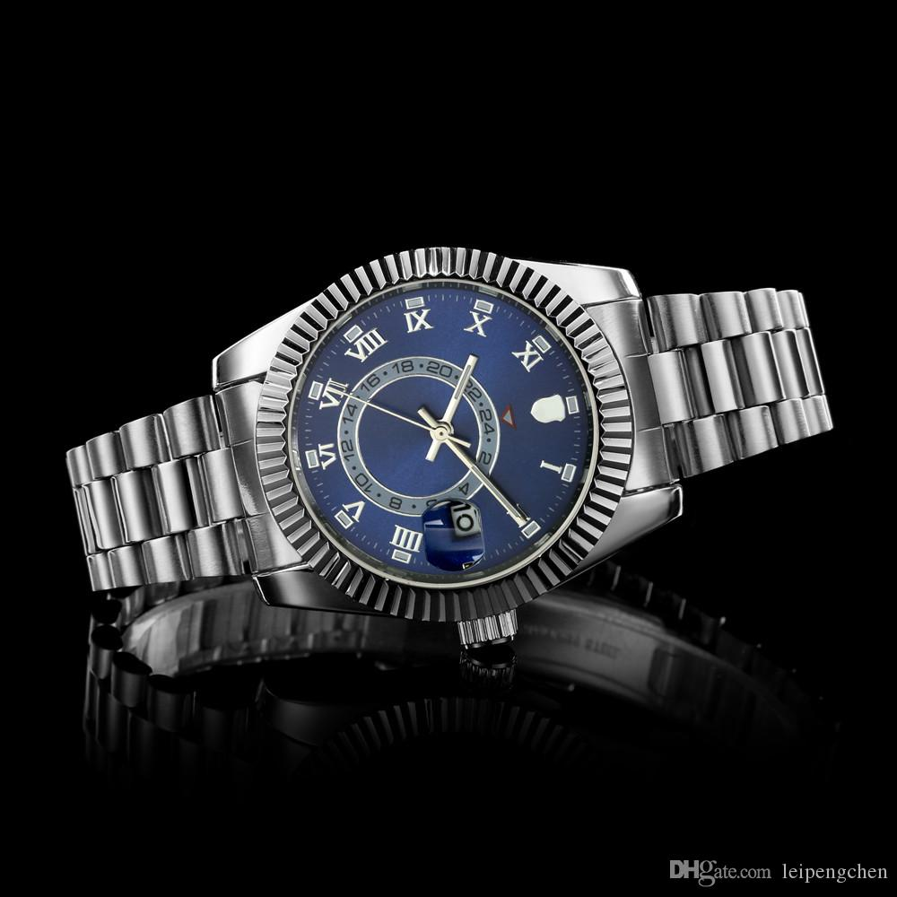Top Luxury Brand New SKY DWELLER Name Fashion 40 mm stainless steel Mens Watch Sports Men Automatic Self-Wind Watches