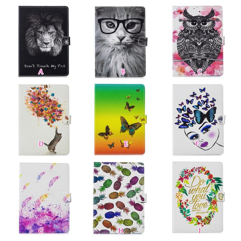 Flower Butterfly Leather For Apple IPAD Pro MiniIPAD 7, 8 2017 9.7inch,Pro 10.5 inch PU Lion Cat Owl Wallet Holder Card Case Skin Cover