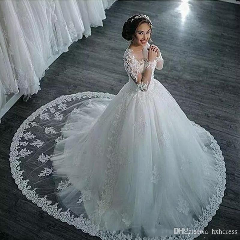 2020 뉴 럭셔리 놀라운 쉬어 넥 웨딩 드레스 레이스 아플리케 구슬 환상 긴 소매 웨딩 드레스 볼 가운은 기차 맞춤 제작 스윕