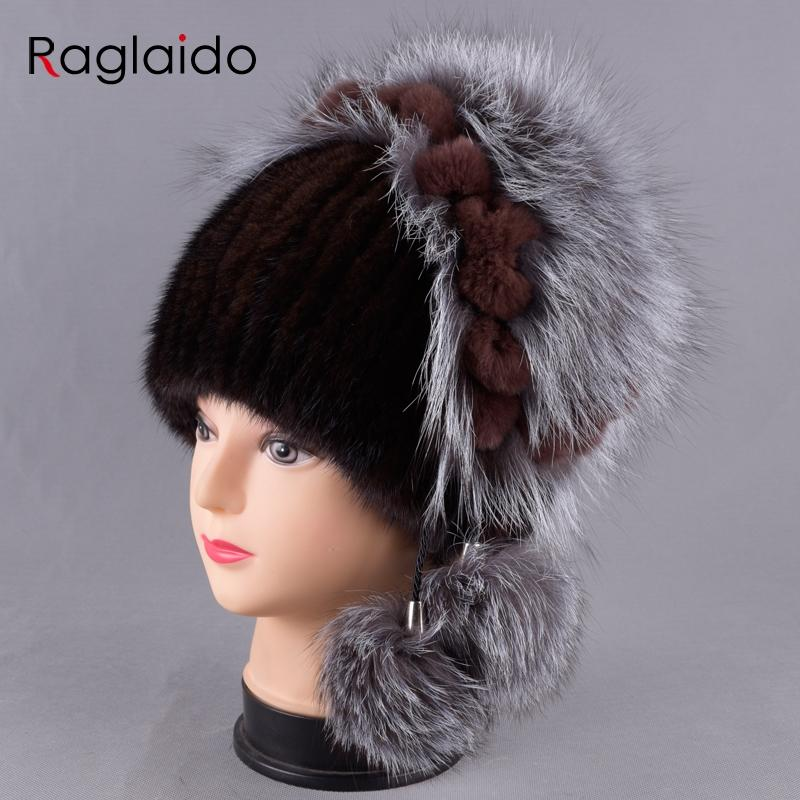 f9f06de20abbd New Women s Hat Knitted Real Mink Hats for Girls Real Fur Winter ...