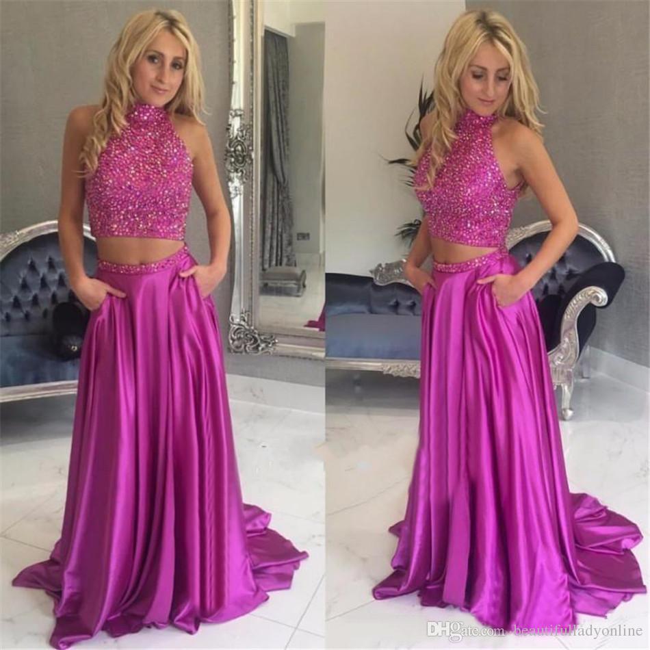 Compre Hot Pink 2 Piezas De Baile Vestidos De Cuello Alto Fuera Del ...
