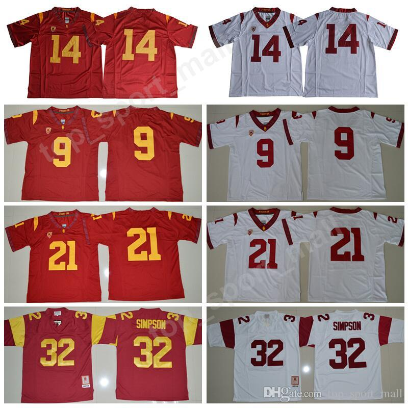 huge discount 2d151 08c4b USC Trojans 9 JuJu Smith-Schuster Jersey Men College Football 14 Sam  Darnold 21 Adoree Jackson 32 OJ Simpson Stitched Red White Size S-XXXL
