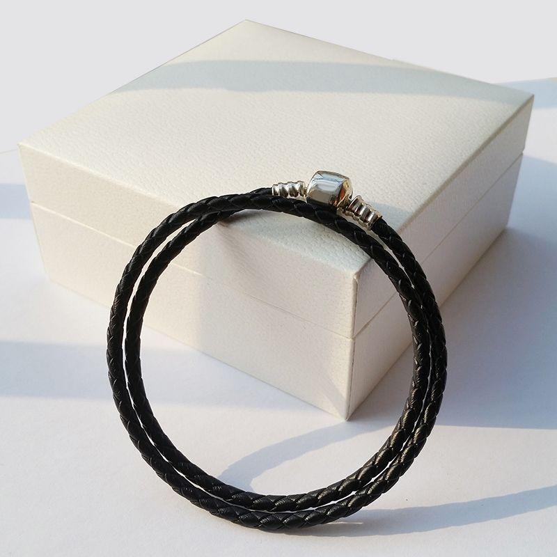 أزياء المرأة 925 فضة ريال أسود طبقة مزدوجة الجلود سوار صالح باندورا سحر الخرز مجوهرات الرجال رجل الإسورة سوار