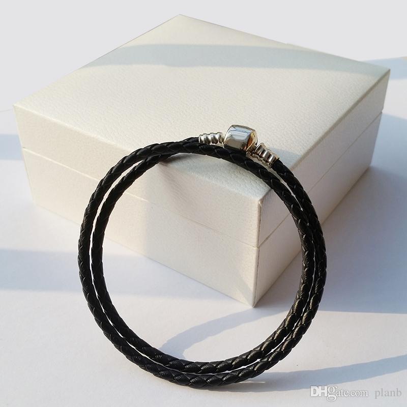 Mode Womens 925 Sterling Silber Echt Schwarz Doppelschicht Leder Armband Fit Pandora Charms Perlen Schmuck Herren Herren Armreif