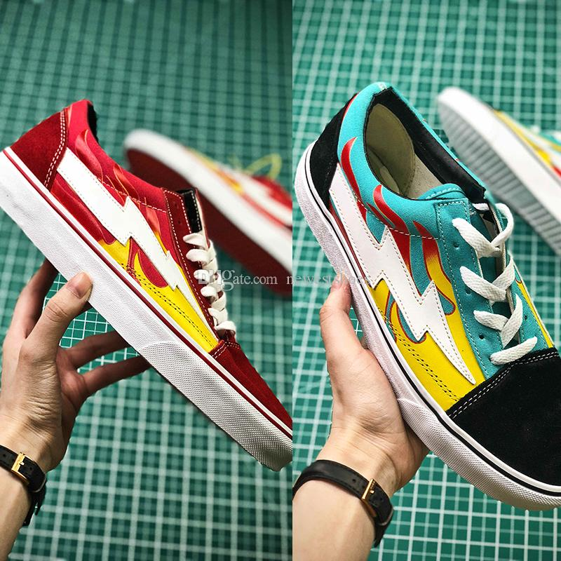 db861914a34 2019 New Revenge X Storm Old Skool Pop Up Store Low Cut Limited Sneaker  Green Red IAN Teal Flame U.S. Canvas Suede Mens Women Casual Skate Shoes  From ...